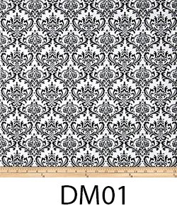 DM01 Black on white damask
