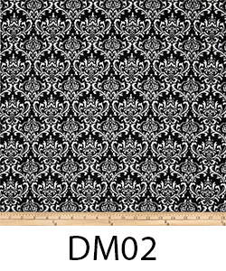 DM02 WHITE ON BLACK DAMASK